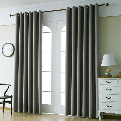 Thick Thermal Grommet Blackout Curtains With Loop Eyelet Ring Top Silver Grey