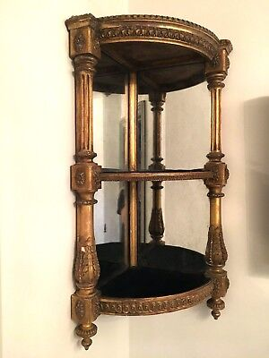ANTIQUE 19th Century Victorian Gilded Gold Mirrored Corner Shelf Stand Display