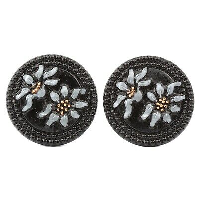 Lot (2) Czech vintage hand painted floral black glass buttons 27mm