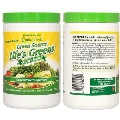 Puritan's Pride Life's Green Concentrated Super food Formula- Body Energy 9.62Oz