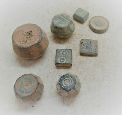 Lot Of Byzantine Period Bronze Weights/Gaming Piece With Ring And Dot Motifs