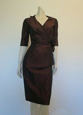 Metallic Look Aubergine Skirt and Wrap Top by Harry Who - Size 8