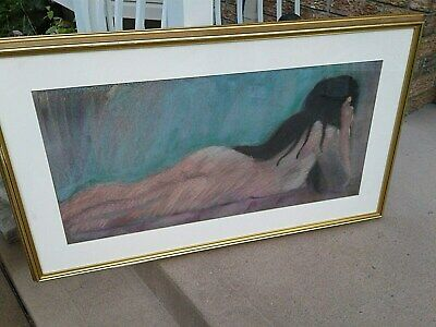 Nude portrait vintage pastels painting large framed 39 by 23 inches signed