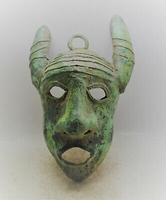 Rare Ancient Roman Bronze Theatrical Mask Circa 200-300Ad. Museum Quality