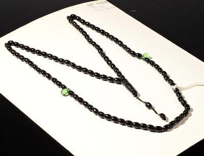Vintage Czech 99 oval pear tube black green glass beaded Islamic prayer strand