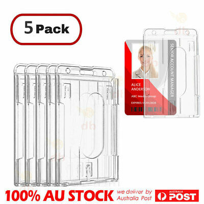 5 Pack Unisex Clear Hard Plastic ID Card Holder Vertical Multi Case Badge Doub