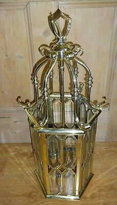 Antique Stylish  4 Lights Brass And Bevelled Glass Art Deco Chandelier