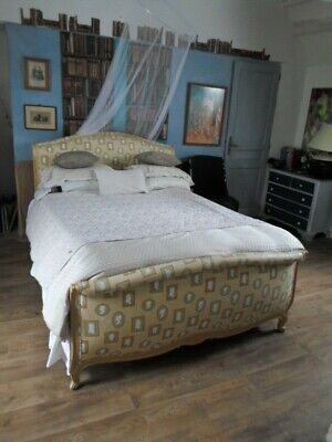 newly upholstered french double louis xv style quality bed beautiful piece