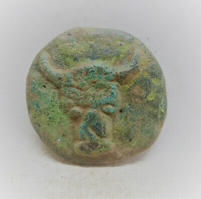 Very Unusual Ancient Roman Bronze Token With Bull Head Depiction