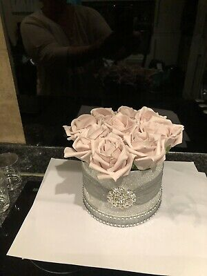 Silver Glitter Rose Box With Blush Pink Flowers