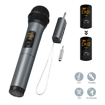 Wireless UHF bluetooth Microphone System Handheld Mic With Receiver For Karaoke
