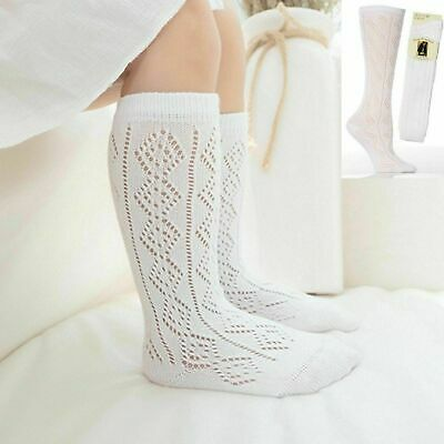 Girls White School Socks Knee High Cotton Rich Long Pelerine Traditional
