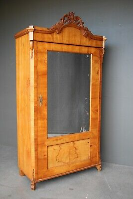 Antique blonde armoire wardrobe mirror door 1840 original Biedermeier cabinet
