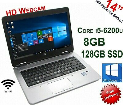 "HP Probook 640 G2 i5 6200 2.4 GHz 8GB 128GB SSD 14"" HD Graphics Laptop Win10 PRO"