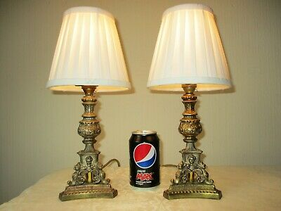 Pair Of Vintage Solid Brass French Empire Bedside Table Lamps With New Shades