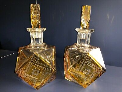 Pair of art deco amber crystal decanters