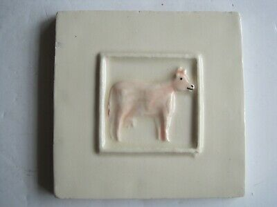 VINTAGE WINCHESTER 105 mm MOULDED & HAND-PAINTED FARM ANIMALS TILE- COW