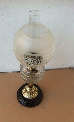 Victorian Veritas Cut Glass & Brass Oil Lamp With Twin Burners,Shade & Chimney