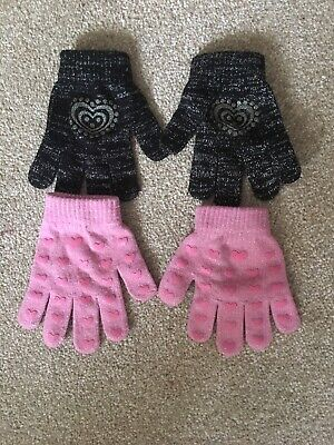 2 x pairs of girls gloves pink black approx size 5-7 years