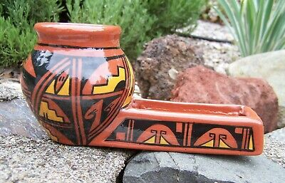 Unusual Vintage Native Southwest Art Pottery - Exc Condition - Bowl Pipe Shape