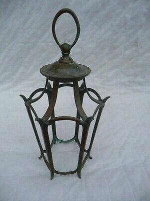 1930s Large English Open Brass Porch Lantern+Hanging Loop Architectural Project