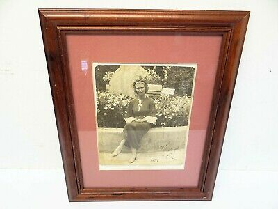Original Eve 1934 Black & White Lady Flapper Photograph Photo Framed Portrait