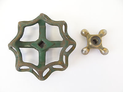 Two Cast Iron & Brass Hose Spigot Knobs Handles Hardware Parts Design Plumbing