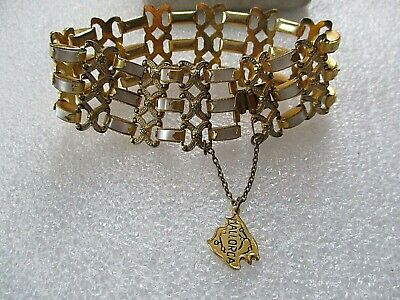 """Vintage  Damascene/Toledo Ware Mother Of Pearl Panel 8"""" Bracelet,With Chain"""