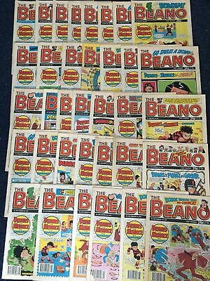 Bundle /Job Lot of 35 x BEANO COMIC's January - September 1990 Vintage 2477-2511