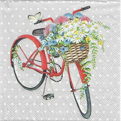Lot de 2 Serviettes en papier Collection de vélos Decoupage Collage Decopatch