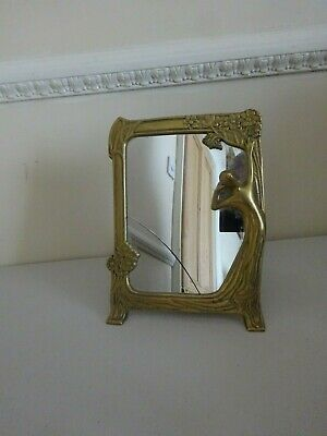 Vintage Brass & Glass Art Nouveau Framed Mirror Table Vanity Freestanding