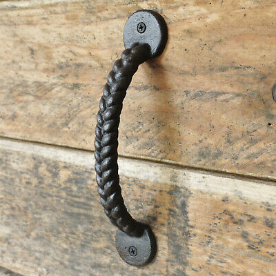 Cast Iron Antique Rope Push Pull Garden Gate Barn Shed Cupboard Door Handle 22cm
