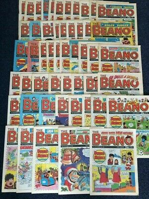 Bundle/Job Lot of 51 x BEANO COMIC's Jan - Dec 1989 Vintage 2425-2464 2466-2476
