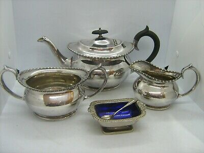 Antique Hawksworth Eyre & Co Sheffield silver plated 3 piece t set + mustard pot