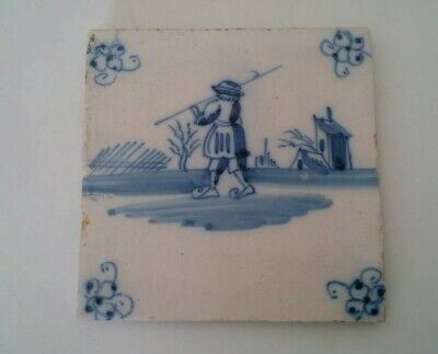 17 th Century Delft Tile Man Carrying Pole With Hook