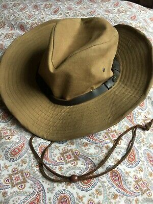 'australian outback' hat brown waxed cotton for the outdoors ; never used