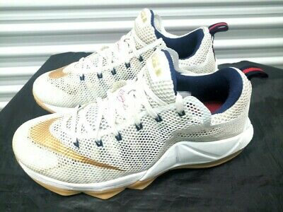 outlet store 285a6 0a03b Nike LeBron 12 Low USA White Metallic Gold Midnight Navy University Red  SIZE 10