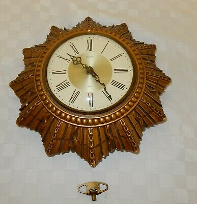 Vintage Smiths Golden Sun/Starburst 8 day Floating Balance Plaster Wall Clock