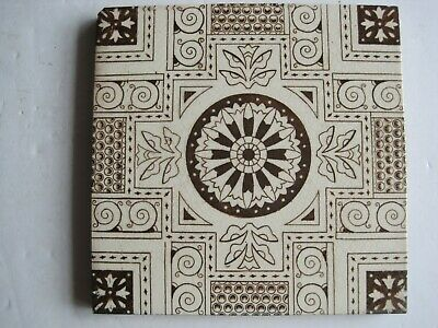 ANTIQUE VICTORIAN BROWN TRANSFER PRINT AESTHETIC TILE - WEDGWOOD? c1878-1900