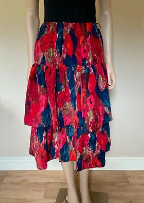 Fink Modell vintage 80s tiered floral midi SKIRT New Romantic pink red blue 12