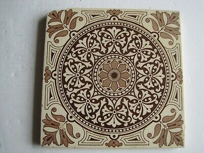 ANTIQUE VICTORIAN BROWN TRANSFER PRINT AESTHETIC TILE PATTERN No.1104