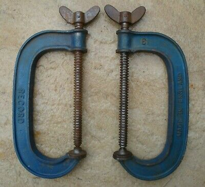 """Pair Of Record Standard Series 6"""" G Clamps In Good Used Condition"""