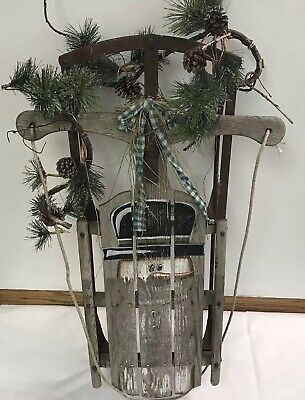 Antique Sled Christmas Decor Frosty the Snowman Distressed Farmhouse 1940-1950