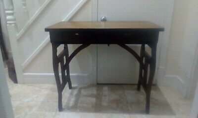 Rare  Victorian Oak Campaign Military Desk With Drawers