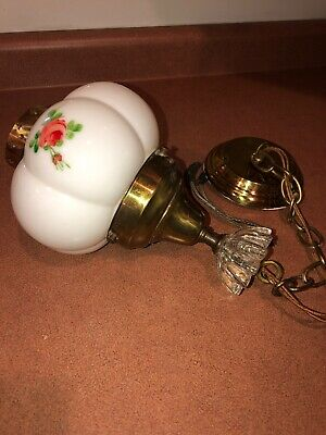 Antique Vintage 1920's 30's Ceiling Hanging Light Brass Painted Glass Shade