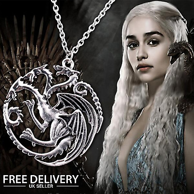 Game Of Thrones Necklace 3 headed Dragon Silver Pendant
