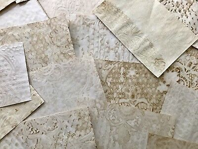 Lot of 20 Tea Coffee Hand Dyed Papers Dot Lace Print Junk Journal Mixed Media