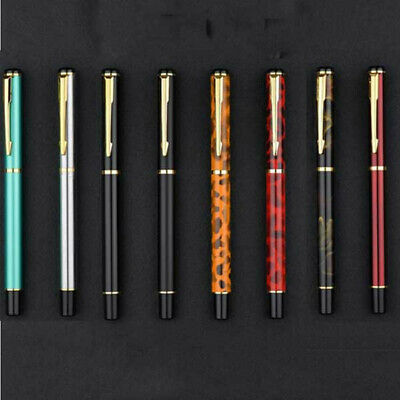 Baoer No 801 MKI Flighter Brushed Steel Fine Fountain Pen with Gold Plated Trim