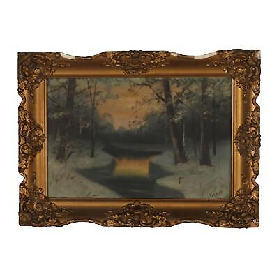 Beautiful Early 20th Century Oil Painting of Winter Landscape