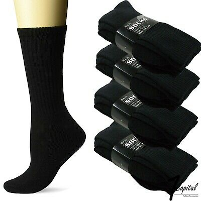 Lots 3-12 Pair Mens Black Crew Athletic Sports Work Cotton Socks Size 9-11 10-13
